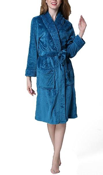 sanrense Long Dressing Gown Mujeres Plaid Jacquard Wrap Nightwear Plus Size Albornoz Flannel suave cálido Albornoz gruesa con bolsillos laterales: ...