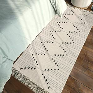 Tassels Boho Rug Runner - Moroccan Rug 2' x 4.3' Cotton Woven Throw Small Chindic Rag Rug | Beige with Black Geometric Decorative Rugs | for Entryway Indoor Bathroom Bedroom Living Room Laundry Room