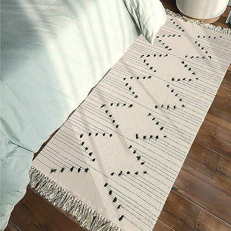 Amazon.com: Alfombra de baño de algodón tejido, con borlas ...