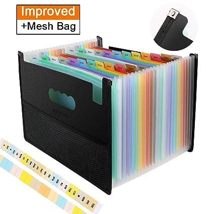 Carpeta Clasificadora con diseño único de bolsa de malla-ABClife Archivador acordeón 24Bolsillos de gran Capacidad soporte Extensible portátil ...
