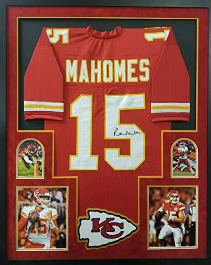cb7634fba Patrick Mahomes Kansas City Chiefs Autograph Signed Custom Framed Red Jersey   15 Suede Matted JSA