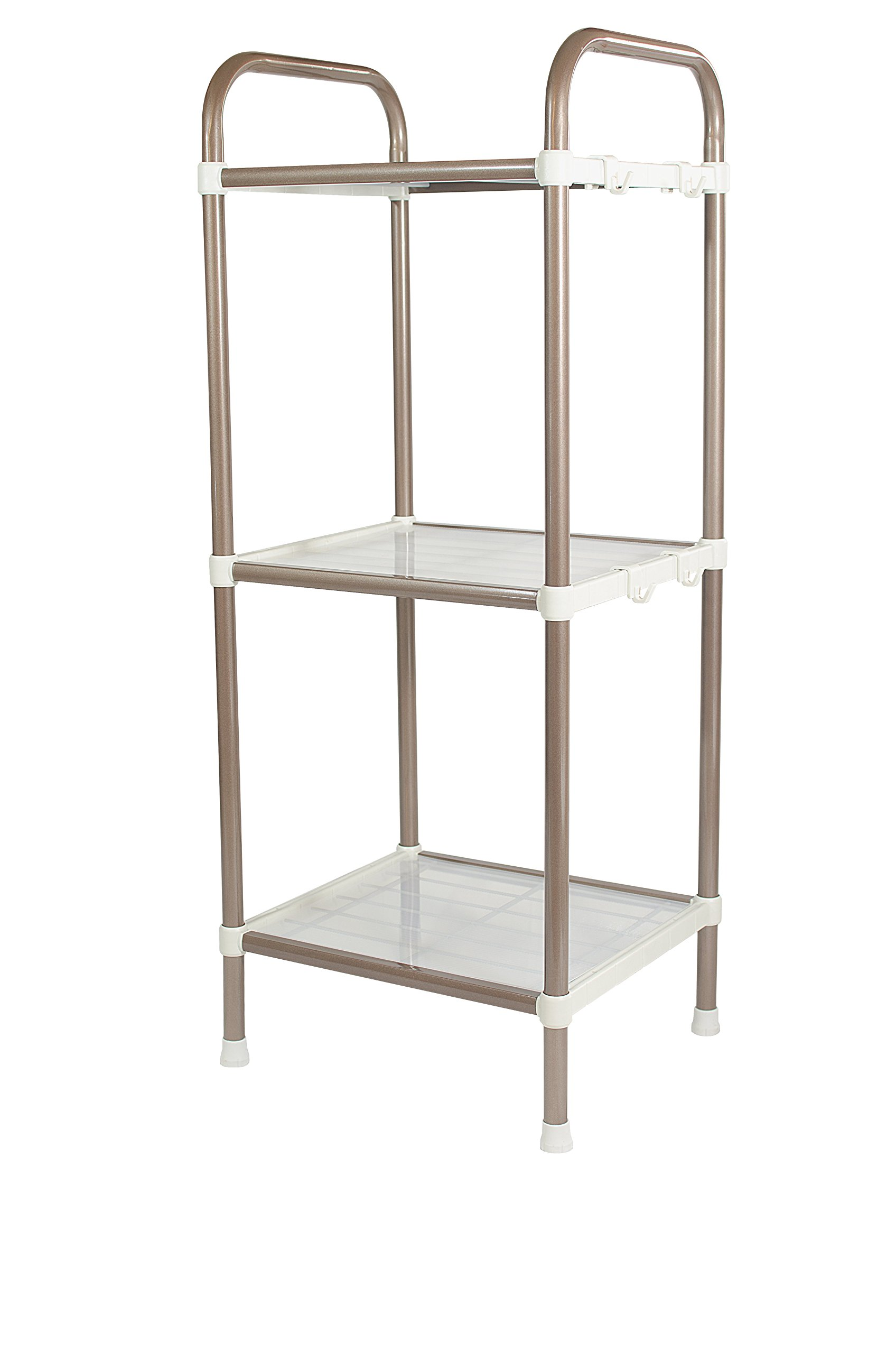 Bathroom Shelf - 3 Tier Shelf Organizer | Space Saving Shelf for Closets, Entryways, Doorways, Mudrooms, Garages & Home Storage | Expandable & Stackable w Other Shelves | Perfect for Organization - ✅ ORGANIZE AND CLEAR YOUR SPACE: If you have limited space in your house or apartment and find yourself stumbling over and searching through all of those household items, then our standing shelf organizer is exactly what you need. Clear out your living space and breathe a sigh of relief as your every organizational need is fully met. ✅ EXTRA EASY TO ASSEMBLE: We've engineered this shelf unit for maximum ease of assembly at every step. Absolutely zero tools required - simply follow the easy to read instructions and enjoy your space-saving new piece of functional furniture in seconds! ✅ SUPER STURDY & DURABLE: Don't settle for a tiered storage rack built from flimsy plastic parts and weak connector materials that's just going to collapse when you need it most. Our short, compact 3-tier bathroom storage rack is made from reinforced steel in a stylish and modern silver coating that looks amazing and ideal for kitchen organization and storage, bathroom shelving, office organization, or laundry or living room. 45 lb capacity. - shelves-cabinets, bathroom-fixtures-hardware, bathroom - 71f Gf7OGZL -