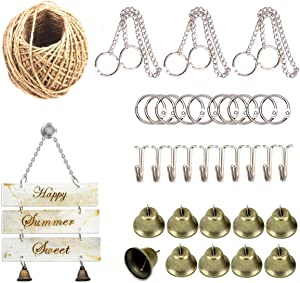 iSuperb 34 Pcs Resin Mold Accessories, 3 Sign Hanging Chain, 10 Book Binder Rings, 10 Hooks up, 10 Bells,1 Jute Twine, for DIY Crafts, School Home Office, Making Wind Chimes