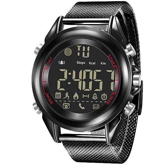 Reloj para Hombre, Reloj Inteligente, Reloj Impermeable, Reloj Deportivo(Black): Amazon.es: Relojes
