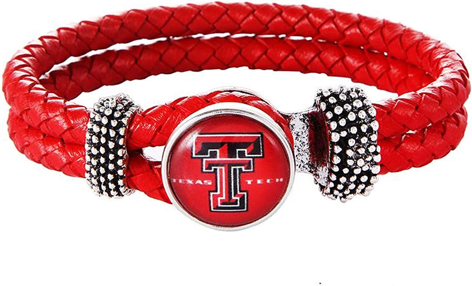Swamp Fox Texas Tech Red Raiders Double Leather Band Bracelet with Charm 7 to 9