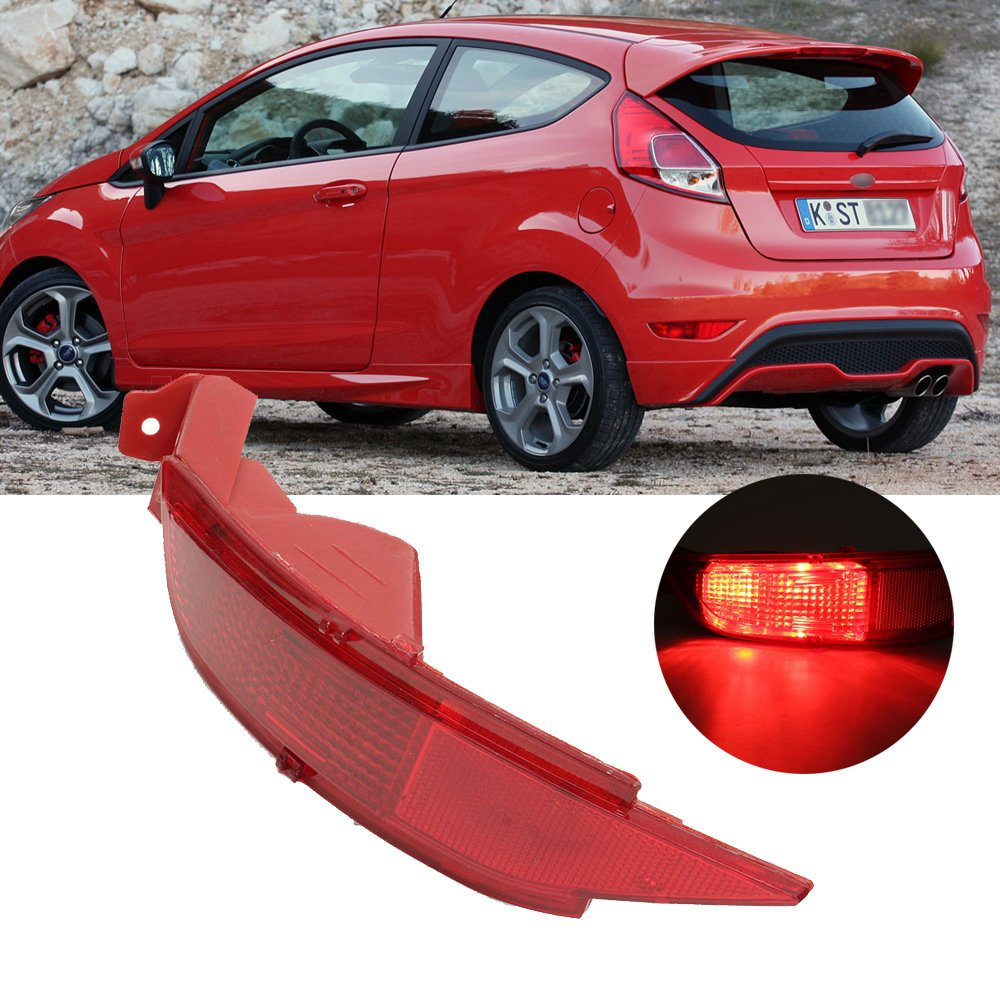 Ricoy Rear Bumper Reflector Cover For Fiesta Mk7 Hatchback 2009-2014 (Right/Without Fog Lamp Bulb)