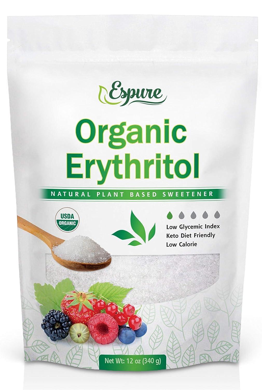 Espure Organic Erythritol - USDA Certified & 100% Pure - Zero Calorie Sugar Substitute, Plant Based Sweetener; 12oz