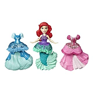 Disney Princess Ariel Collectible Doll with 3 Glittery One-Clip Dresses, Royal Clips Fashion Toy for 3 Year Olds & Up