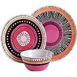 Gibson Home 12 Piece Almira Melamine Dinnerware (Set of 4), Assorted