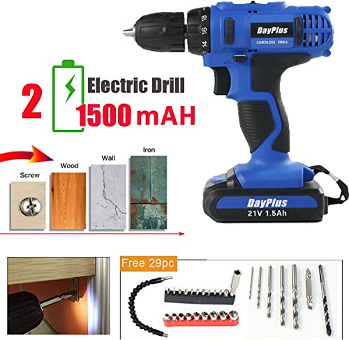 21V Electric Impact Drill Set Cordless Screwdriver 18 1 Torque with 1500mAh Rechargeable Lithium-ion Battery 2-Speed LED Work Light with 29pcs Drill Bits for DIY Workshop Garage – 2 Batteries Kit