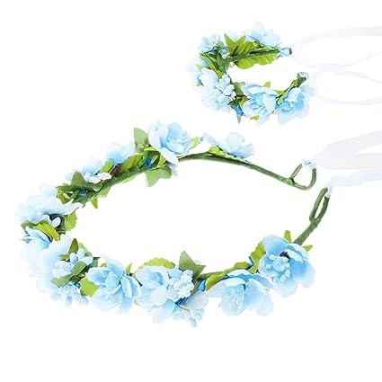 HanLuckyStars Romantica Diadema Corona Flores para Cabello Garland Halo Accesorios para el cabello Elegante Decoradas con Flores de la Venda de ...
