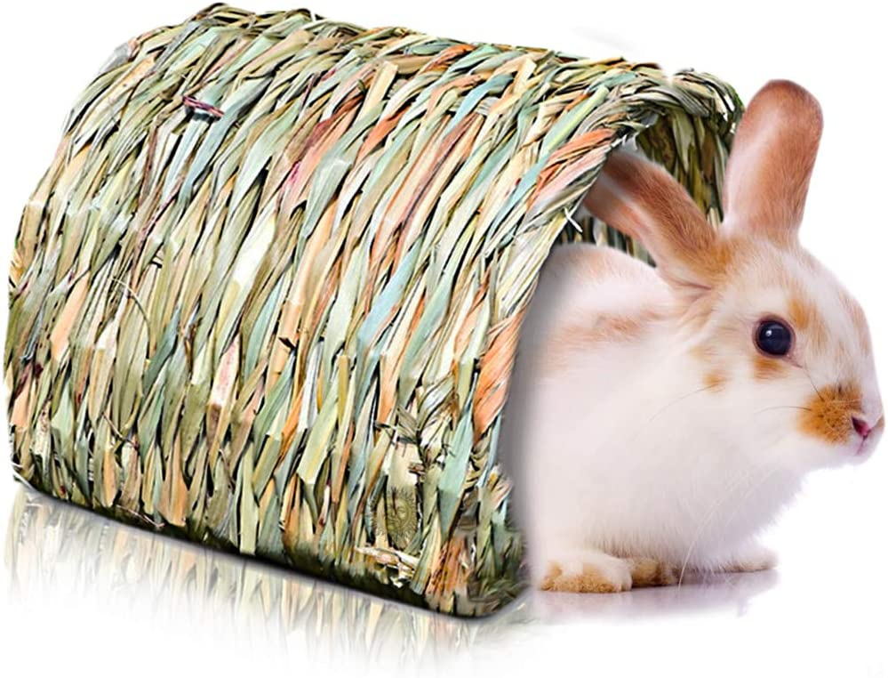 SunGrow Woven Timothy Grass Tunnel, Secret Base for Ninja Training, She-Shed or He-Shed for Me Time, Ideal for Hamsters, Guinea Pigs, Ferrets, Dwarf Rabbits, Rats, and Other Pocket Pets