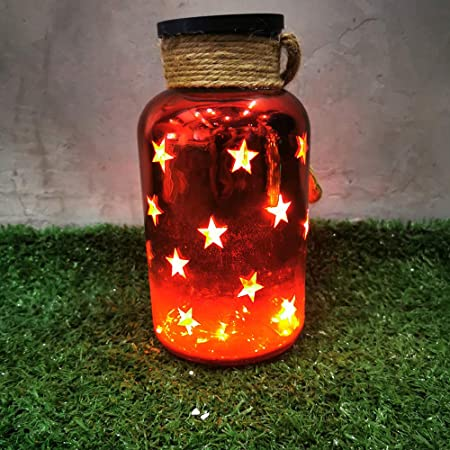 Brand New Inside Outside Garden Glass Jars Lanterns w// Mini LED Lights Gold 3Pk