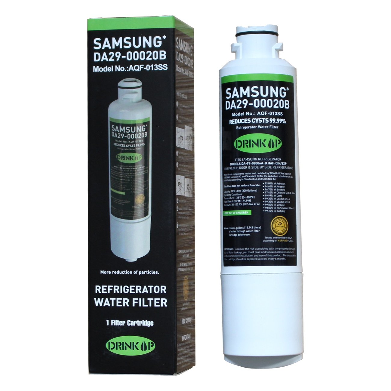 DrinkUp Replacement Refrigerator Water Filter Compatible with Samsung DA29-00020B, DA29-00020A, HAF-CIN/EXP, fits French Door & Side by Side Refrigerator (1-Pack)