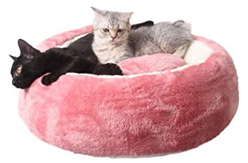 Amazon.com : Legendog Cat Round Bed, Cat Bed Anti Skid Plush Cat Warm Bed Pet Donut Bed with Detachable Bed Mat for Cat Dog : Pet Supplies