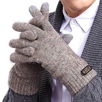 be3c05b1c2b056 Tcare 1 Paar gestrickte Kuh Plüsch Touchscreen SMS Handschuhe für  Smartphones & Tablets, Outdoor Herren