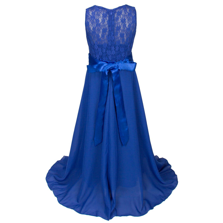 4fc7f23d62c6e Discoball fille mousseline Fleurs Fond longue robe - Bleu - 10-11 ans   Amazon.fr  Vêtements et accessoires