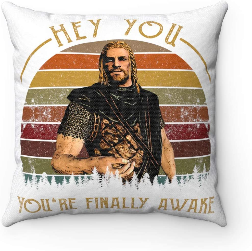 TeeWish Hey You You re Finally Awake Vintage Ra-Lof Throw Pillow – Decorative Pillow – Indoor Outdoor Cushion, 20 x 20