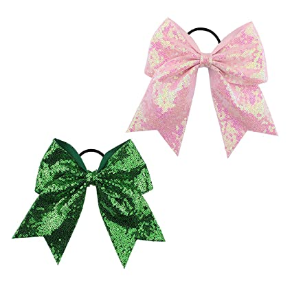 new design cute cheap discount shop Girls Cheer Bow Ponytail Holder Big Hair Bow Tie with Glitter Sequins  Bowknot JB80 (Green Pink)