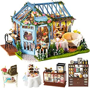 CUTEBEE Dollhouse Miniature with Furniture, DIY Dollhouse Kit Plus Dust Proof and Music Movement, 1:24 Scale Creative Room Idea (Rose Garden Tea House)