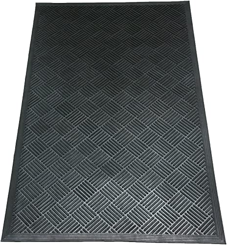 Rubber-Cal 03-235-CH DuraScraper Checkered Commercial Rubber Entrance Mat, 3 8 Thick x 3 x 5 , Black