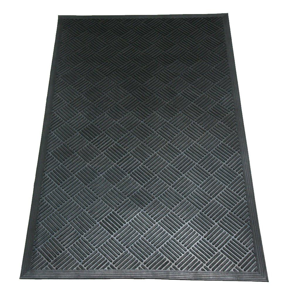 Rubber-Cal 03-235-CHDura-Scraper Checkered, 3/8 thick x 3ft x 5ft Commercial Black Rubber Doormats