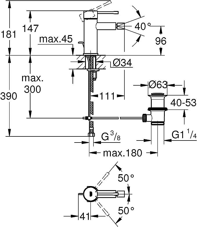 GROHE Einhand-Bidetbatterie Essence 32935 m Zugstangen-Ablaufgarnitur Chrom 32935001