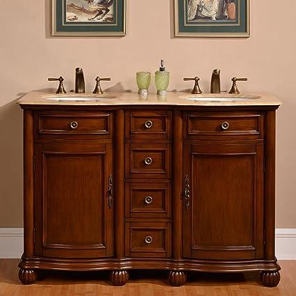 Amazoncom Silkroad Exclusive Countertop Travertine Double Sink