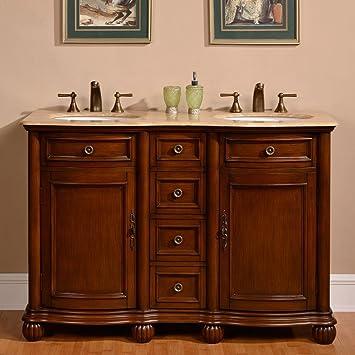 Marvelous Silkroad Exclusive 52 Inch Travertine Stone Top Bathroom Double Sink Vanity  Cabinet