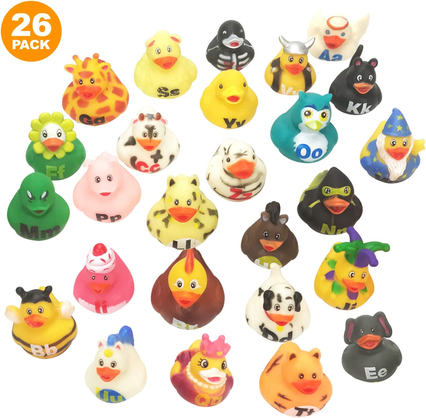 Learn Your Alphabet Toys for Bath Livativ 2 Inch Alphabet Rubber Duckies Birthday Mini Bath Time Toys for Infants and Toddlers from Playko Tiny Rubber Ducks for Kids Baby Shower Pack of 26