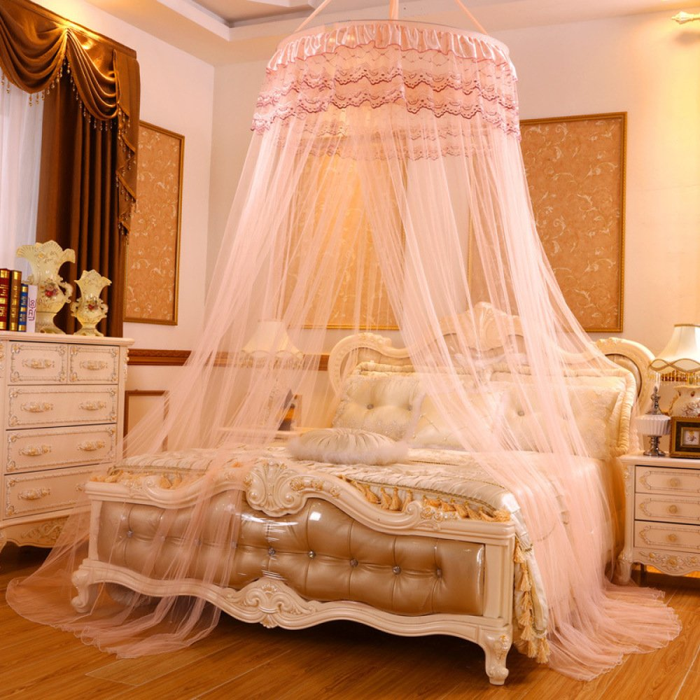 Lustar Princess Lace Mosquito Net Bed Canopy Children Fly Insect Protection Indoor Decorative Height 2.8m Top Diameter 0.6-1m,Creama