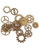 17pcs Steampunk Pendentifs Engrenage pour Fabrication de Bijoux Collier Artisanat