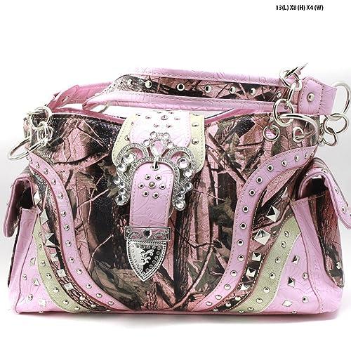 Camo Rhinestone Concealed Carry Handbag Shoulder Purse Cross Buckle Pink Purple