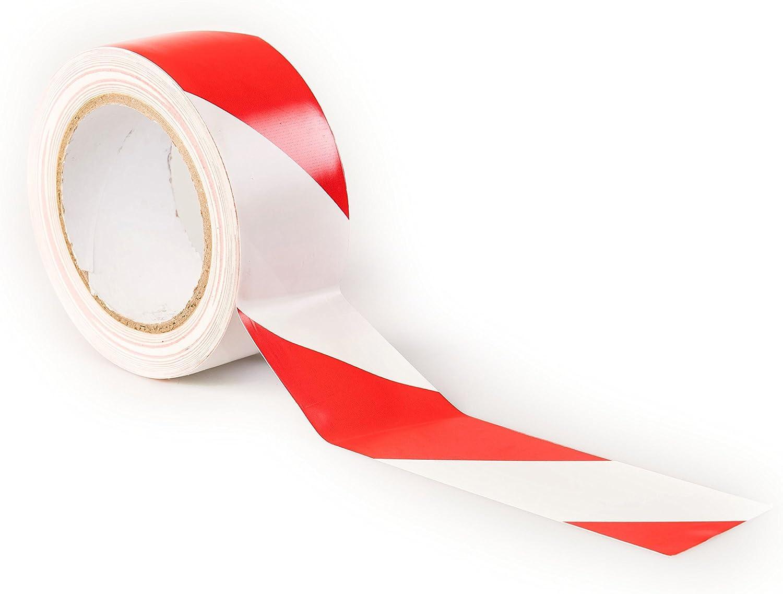 Cinta de advertencia de peligro - 33 M x 50 mm - Cinta adhesiva de adhesivo - alta calidad rollo por gocableties (Rojo/Blanco): Amazon.es: Bricolaje y herramientas