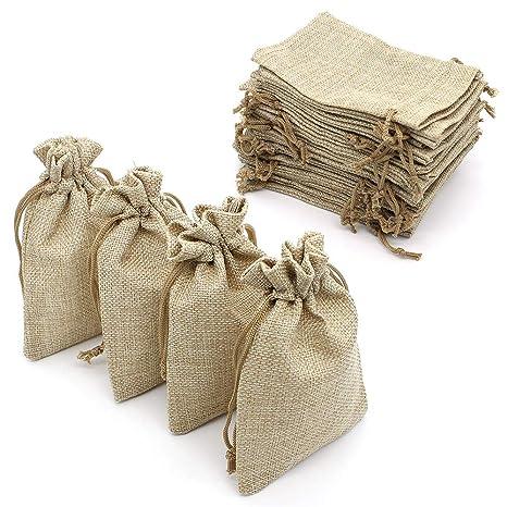 Yuhtech 20 Packs Bolsas de Arpillera Bolsas de Regalo con ...