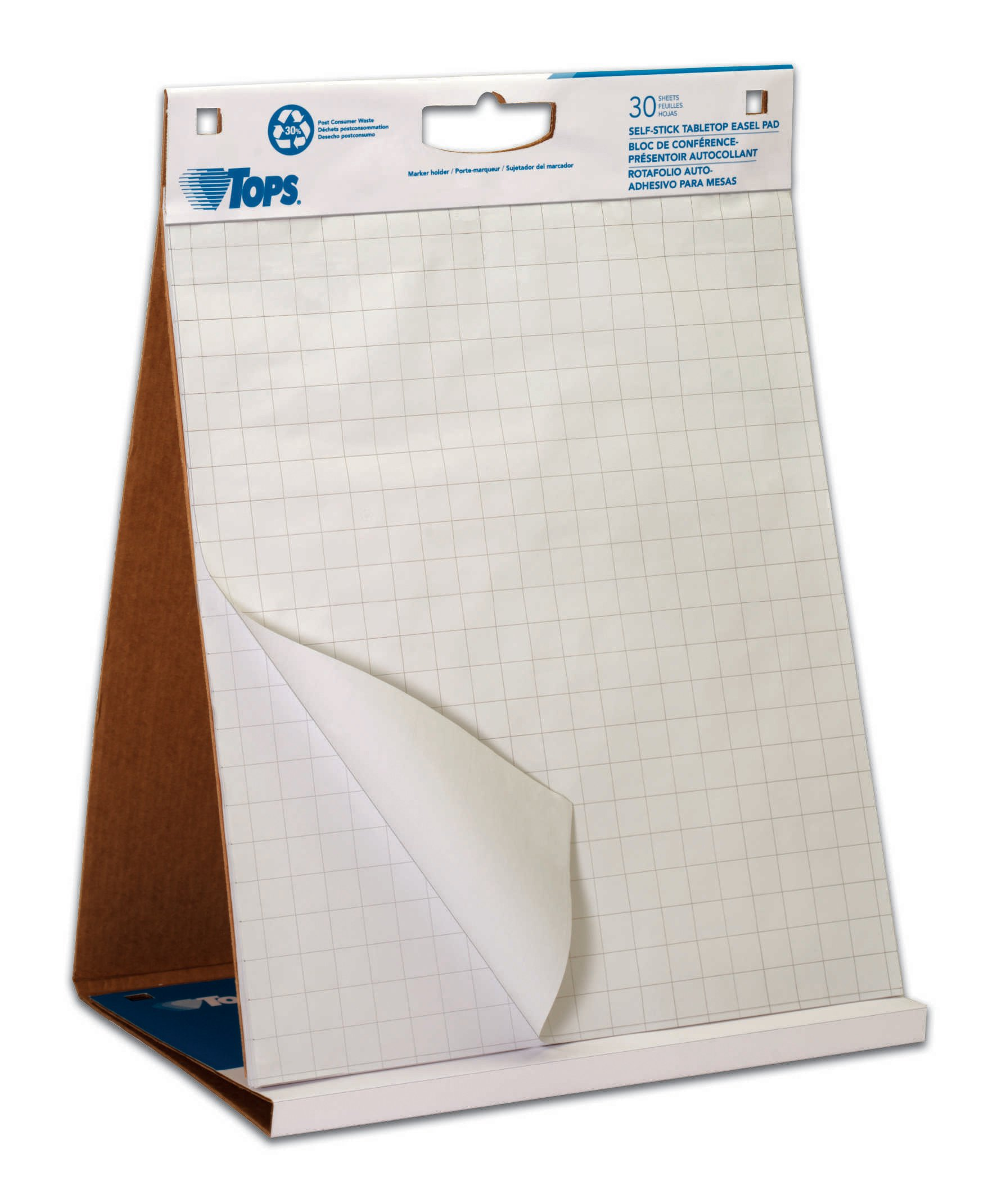 TOPS Easel Pad with Tabletop Easel, 30 Self Stick Sheets, White, 22 x 23 Inches (79250) by TOPS