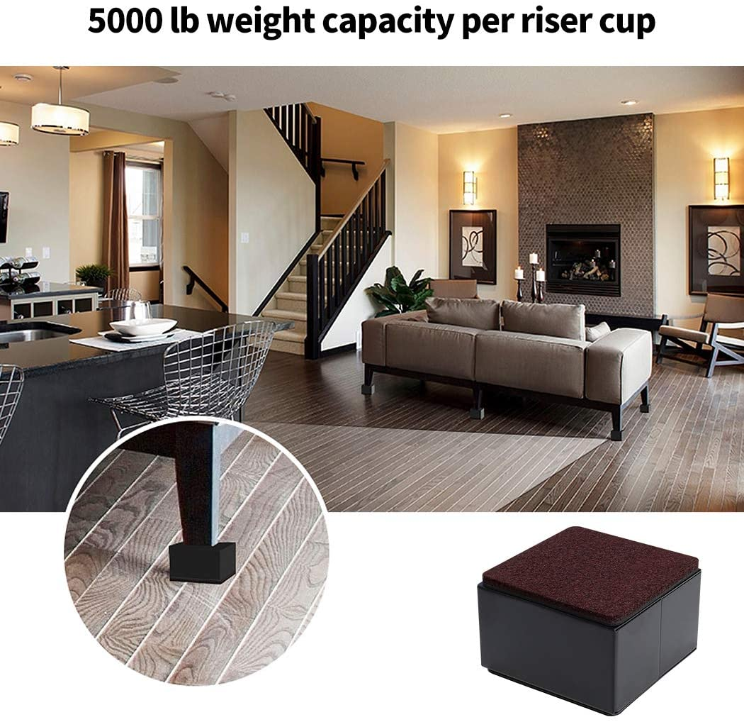 """Anti Slip Bottom Ezprotekt Bed and Furniture Square Risers Square,2 Inch Black Protect Floors Wont Scratch Wood and Carpet Surface 4 Pack Elevator up to 2/"""" Per Riser and Lifts up to 5,000 LBs"""