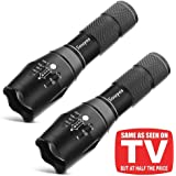 Tactical Flashlight, Souyos Ultra Bright LED Taclight with Magnetic Base and 5 Light Modes & Adjustable Focus for Camping Hiking Emergency,2-pack
