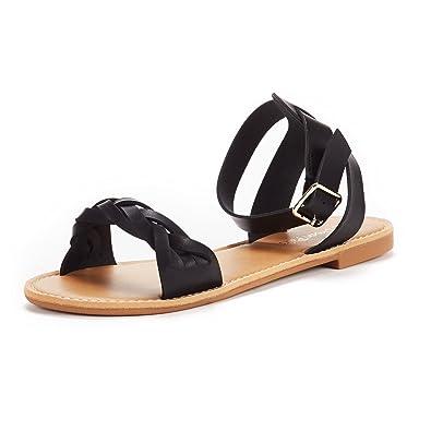 2a5c0cdff8ec DREAM PAIRS Women s HOBOO B Cute Open Toe Ankle Strap Flat Sandals Black Pu  Size 5 M