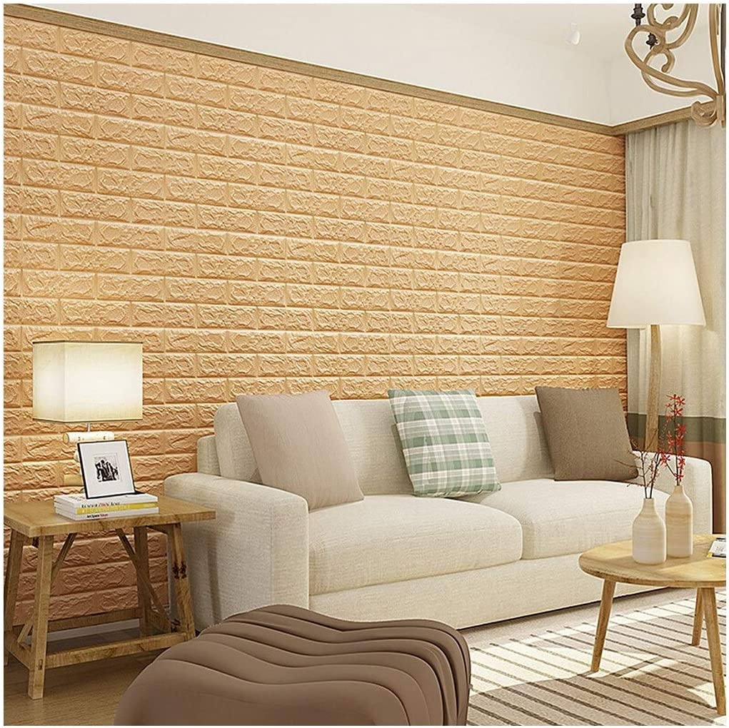 CHFHXJ 10PCS 3D Brick Wallpaper Peel and Stick Panels, Brick Textured Effect Wall Decor Adhensive Wall Paper for Bathroom, Kitchen, Living Room Home Decoration Self-Adhesive Wallpaper