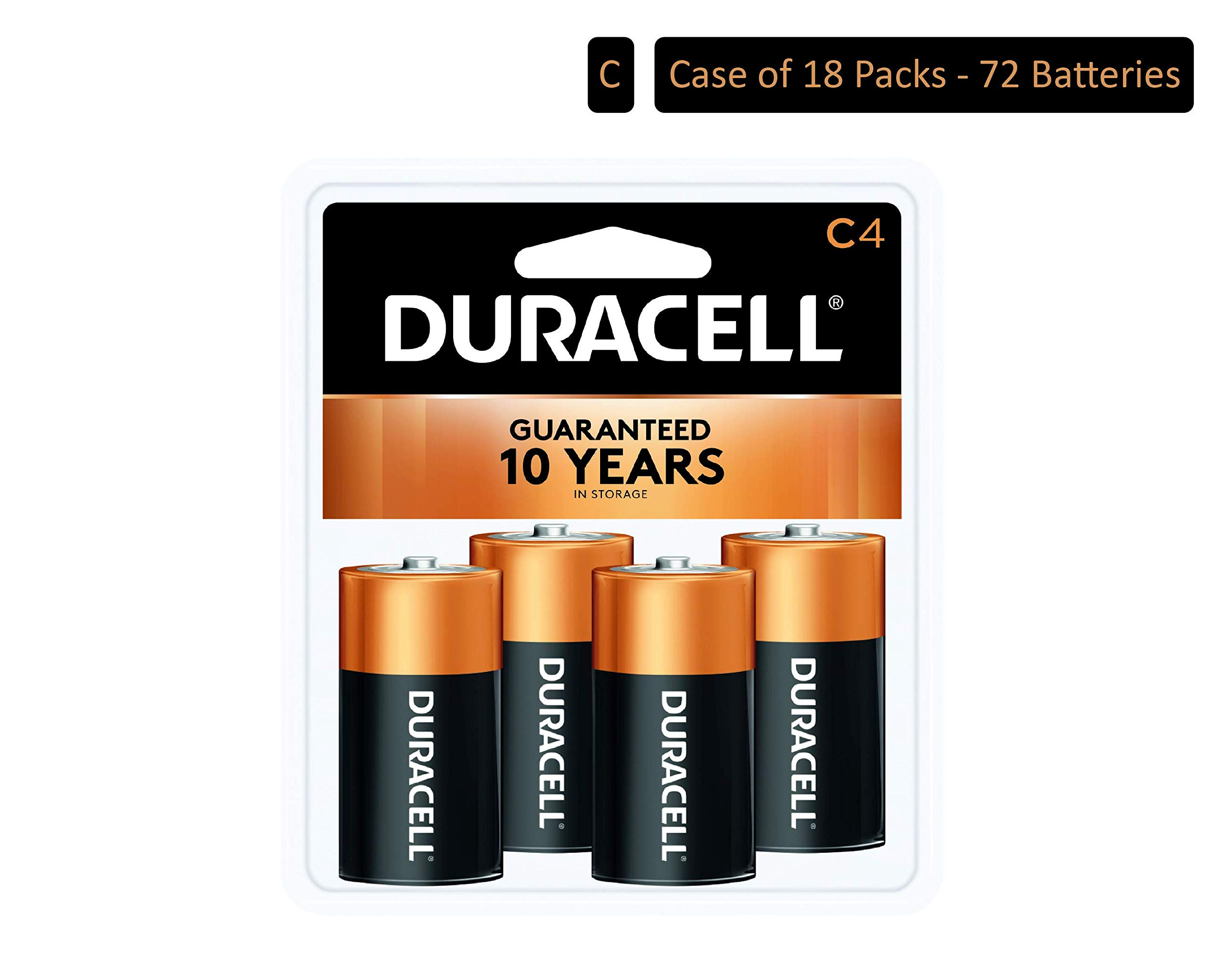 Duracell - CopperTop C Alkaline Batteries with recloseable Package - Long Lasting, All-Purpose C Battery for Household and Business - 4 Count (Pack of 18) by Duracell