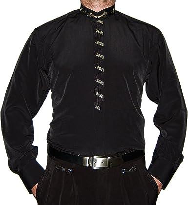 Camisa de Hombre Negro o Cuello Blanco Stick y Señor Camisa Manga Larga