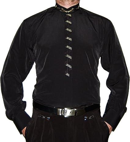 Camisa de Hombre Negro o Cuello Blanco Stick y Señor Camisa Manga Larga: Amazon.es: Ropa y accesorios