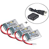 MakerFun 4pcs 3.7v 250mAh 20c Lipo Battery Parts with 1pcs 4 in 1 Battery Charger for Syma X4 X11 X11c and Walkera Mini…