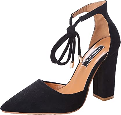 MayBest Women Ankle Lace-Up High Block