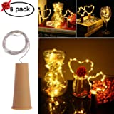 MEKBOK Wine Bottle Fairy Lights with Cork 3 Lighting Modes 6 Pack Copper Wire String Starry LED Lights for Bottle DIY, Party, Decor, Valentine's Day, Wedding … (3 Modes, Warm White)