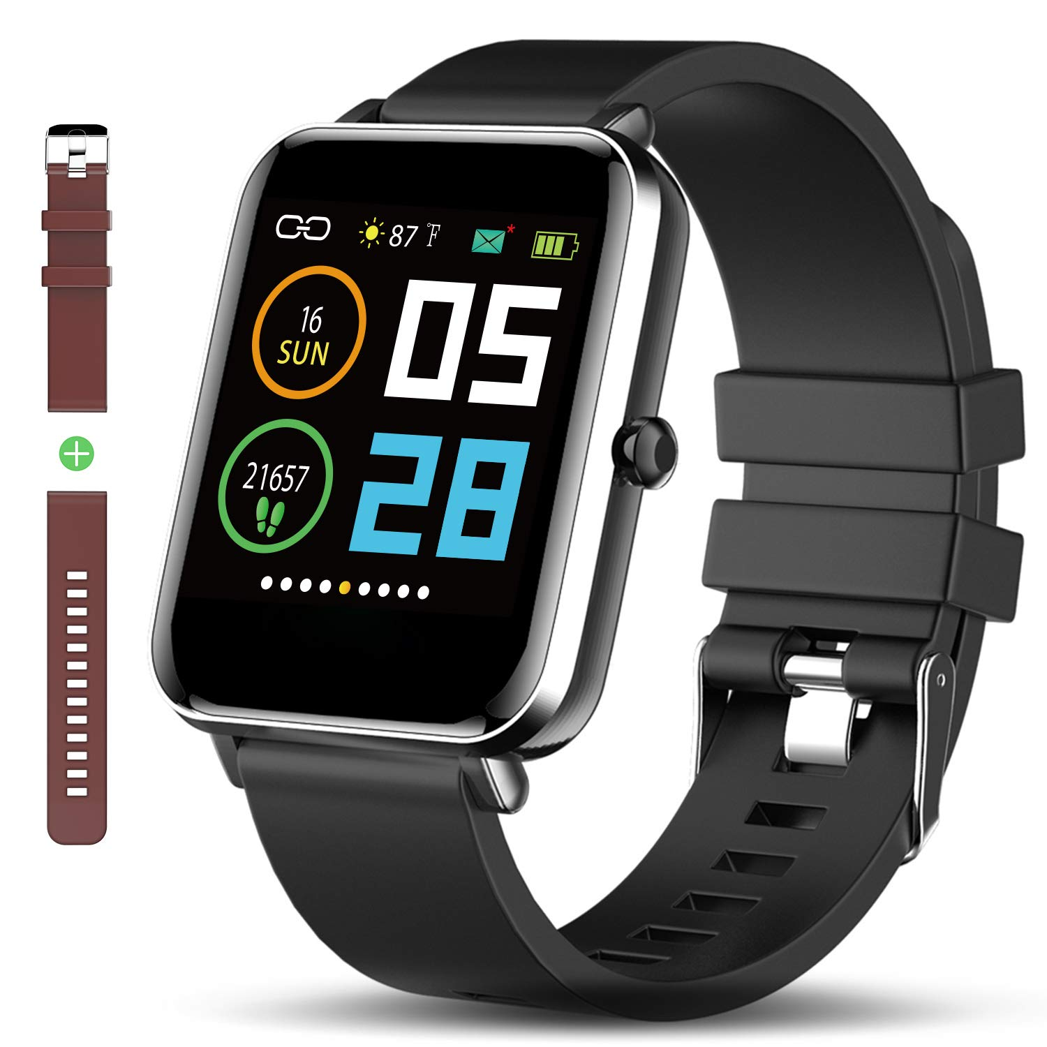 Bluetooth Smart Watch: All-Day Heart Rate Blood Pressure Activity Tracking Waterproof Full Touch Screen Step Counter Calorie Counter Pedometer Sleep Monitoring Ultra-Long Battery Life for iOS&Android by Zagzog