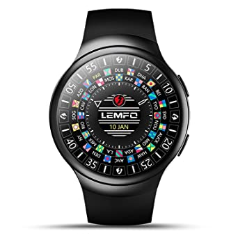 Amazon com: LEMFO Android 5 1OS 3G Smart Watch Phone WiFi BT GPS