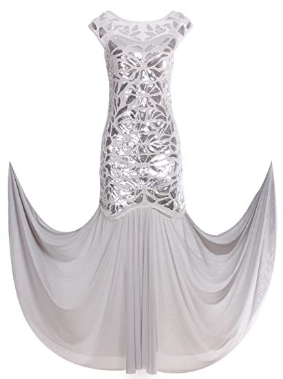 Vijiv 1920s Long Prom Dresses Sequins Beaded Art Deco Evening Party V Neck Back: Amazon.co.uk: Clothing