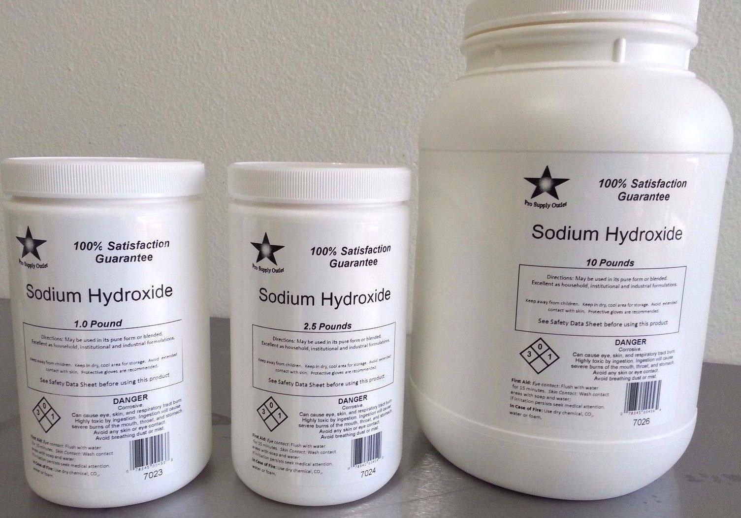 Sodium Hydroxide 98% (Caustic Soda, Lye) Micro Pearls FCC/Food Grade 10 Lb (7026)